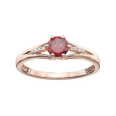 10k Rose Gold Garnet & Diamond Accent Ring