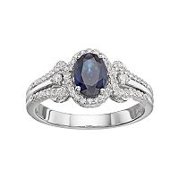 10k White Gold Sapphire & 1/4 Carat T.W. Diamond Oval Halo Ring