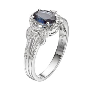 10k White Gold Sapphire & 1/4 Carat T.W. Diamond Oval Halo Ring