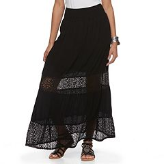 Juniors' Joe B Smock Crochet Maxi Skirt