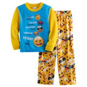 Boys 4-10 Emoji 2-Piece Pajama Set