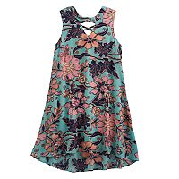 Girls 7-16 My Michelle Button Front Printed Trapeze Dress