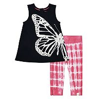 Toddler Girl Burt's Bees Baby Butterfly Tunic & Tie-Dye Capri Leggings Set