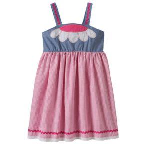 Girls 4-6x Nanette Seersucker Dress With Flower Applique