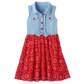 Girls 4-6x Nanette Chambray Tie-Front Dress