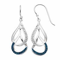 Silver Luxuries Crystal Interlocking Teardrop Earrings