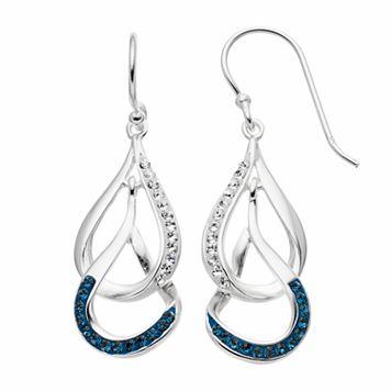 Silver Luxuries Crystal Interlocking Teardrop Earrings