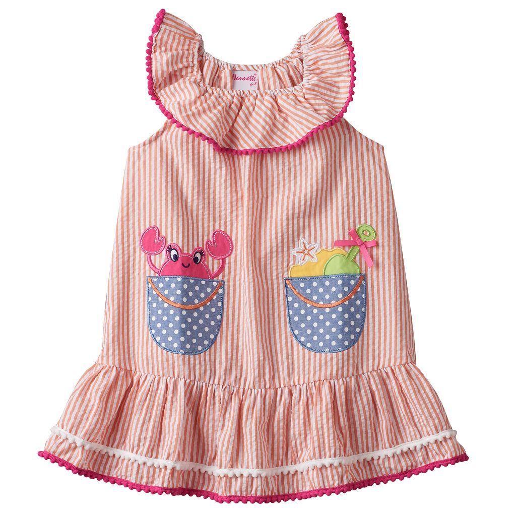 Toddler Girl Nannette Applique Seersucker Dress