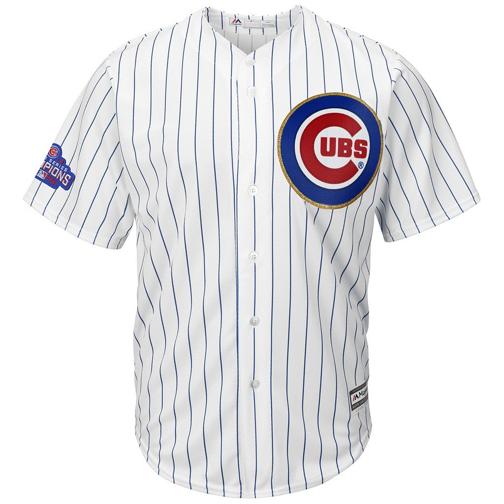Men's Majestic Chicago Cubs Anthony Rizzo 2016 World Series Champions Gold Program Cool Base Replica Jersey