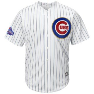 Men's Majestic Chicago Cubs Kyle Schwarber 2016 World Series Champions Gold Program Cool Base Replica Jersey