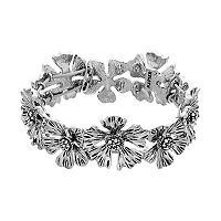 Napier Antiqued Flower Stretch Bracelet
