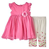 Baby Girl Nannette Clip-Dot Chiffon Tunic & Cherries Leggings Set
