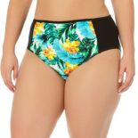 Juniors' Plus Size In Mocean Tropical Print High-Waisted Bikini Bottoms