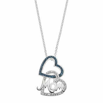 Silver Luxuries Crystal Mom Heart Pendant Necklace