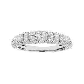 14k Gold 1/4 Carat T.W. IGL Certified Diamond Art Deco Wedding Ring