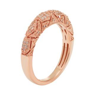 14k Gold 1/5 Carat T.W. IGL Certified Diamond Art Deco Wedding Ring