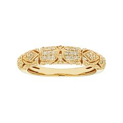 14k Gold 1/5 Carat T.W. IGL Certified Diamond Art Deco Wedding Ring