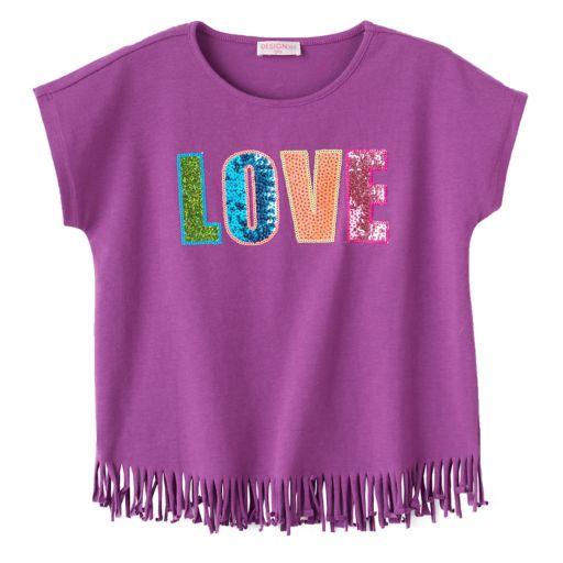 "Girls 4-6x Design 365 ""Love"" Fringe-Hem Top"