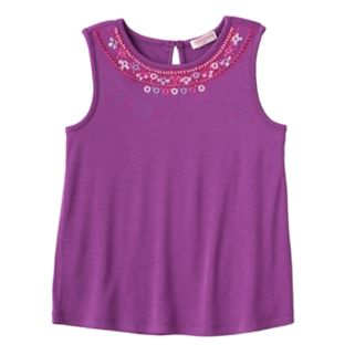 Girls 4-6x Design 365 Embroidered Beaded Tank Top