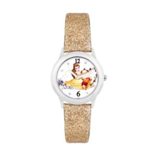 Disney's Beauty and the Beast Belle, Chip & Sultan Kids'  Glittery Leather Watch
