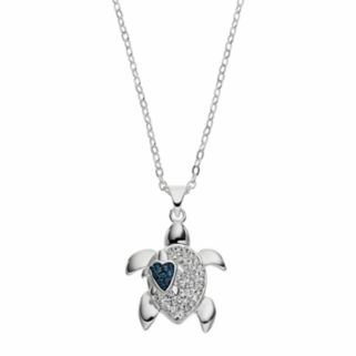 Silver Luxuries Crystal Turtle Pendant Necklace