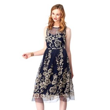 Women's Indication by ECI Embroidered Fit & Flare Dress