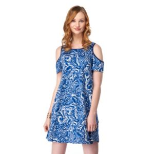 Women's Indication by ECI Print Cold-Shoulder Dress