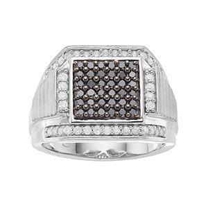Men's Sterling Silver 1 Carat T.W. Black & White Diamond Square Ring