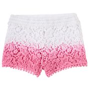 Girls 4-6x Design 365 Dip-Dyed Crocheted Shorts