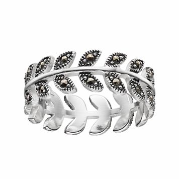 Silver Luxuries Marcasite Leaf Ring