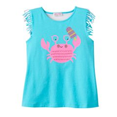 Toddler Girl Design 365 Sequined Crab Fringe-Hem Tank Top