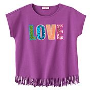 Toddler Girl Design 365 'Love' Fringe-Hem Top