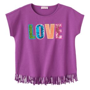 "Toddler Girl Design 365 ""Love"" Fringe-Hem Top"
