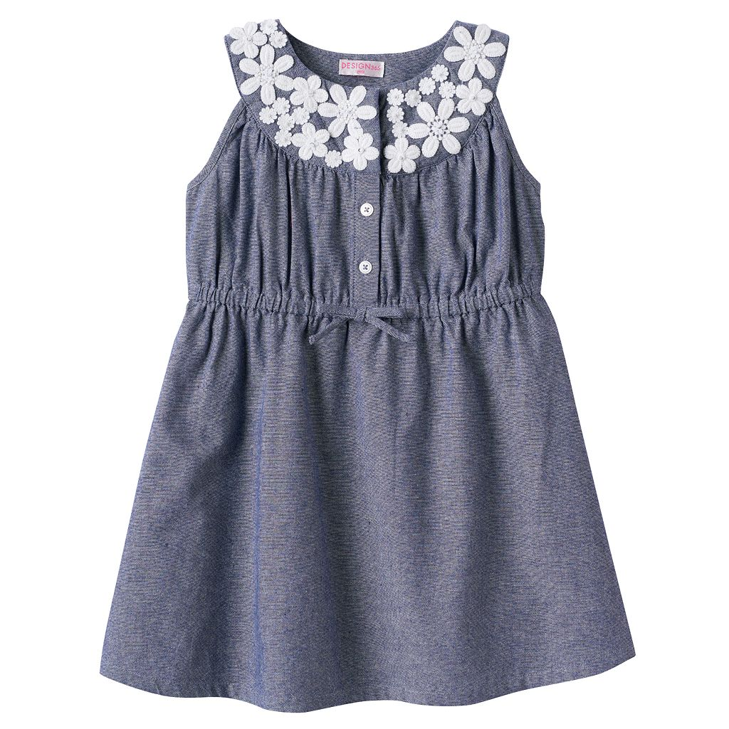 Toddler Girl Design 365 Floral Chambray Dress