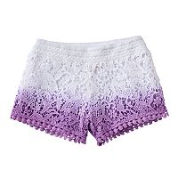 Toddler Girl Design 365 Dip-Dyed Crocheted Shorts