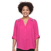 Juniors' Plus Size Candie's® Back Keyhole Splitneck Top
