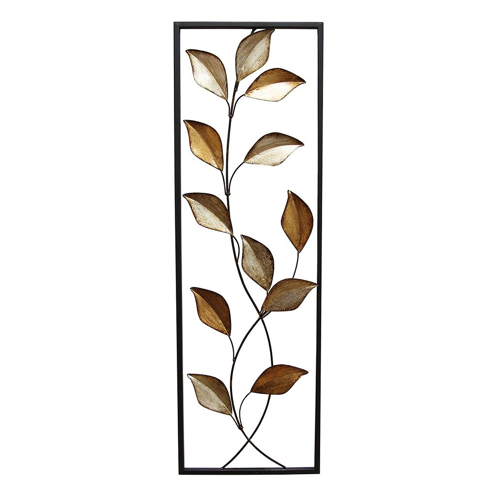 Stratton Home Decor Metallic Leaves Panel Wall Decor