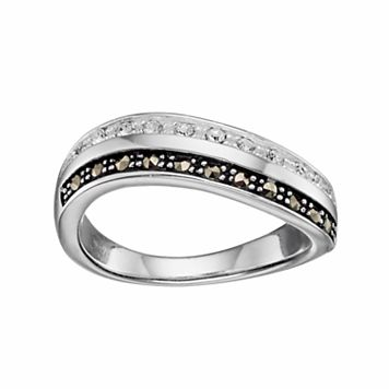 Silver Luxuries Crystal & Marcasite Wave Ring