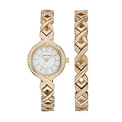 Armitron Women's Crystal Crisscross Watch & Bracelet Set - 75/5412WTGPST