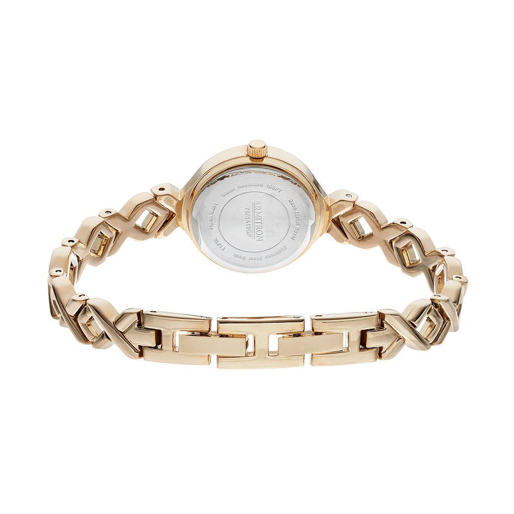 Armitron Women's Crystal Crisscross Watch & Bracelet Set - 75/5412WTGPST
