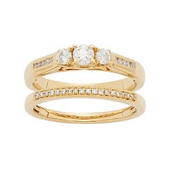 14k Gold 1/2 Carat T.W. IGL Certified Diamond 3-Stone Engagement Ring Set