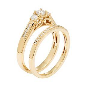 14k Gold 1/2 Carat T.W. IGL Certified Diamond 3-Stone Engagement Ring Set