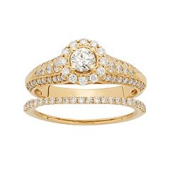 14k Gold 1 Carat T.W. IGL Certified Diamond Flower Engagement Ring Set