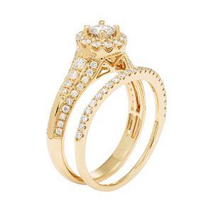 14k Gold 1 Carat T.W. IGL Certified Diamond Flower Engagement Ring Set