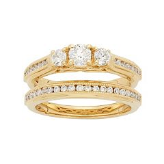 14k Gold 1 Carat T.W. IGL Certified Diamond 3-Stone Engagement Ring Set