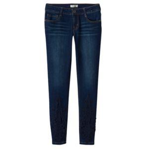 Girls 7-16 Mudd® Crochet Lace Hem Skinny Jeans