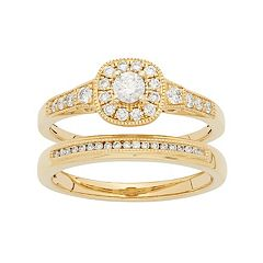 14k Gold 1/2 Carat T.W. IGL Certified Diamond Cushion Halo Engagement Ring Set