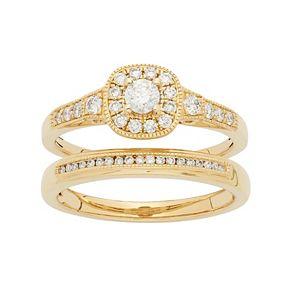 14k Gold 1/2 Carat T.W. IGL Certified Diamond Cushion Halo Engagement Ring Set
