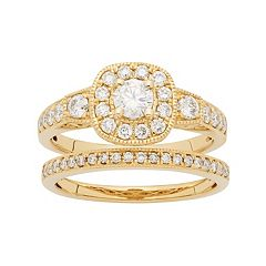 14k Gold 1 Carat T.W. IGL Certified Diamond Cushion Halo Engagement Ring Set