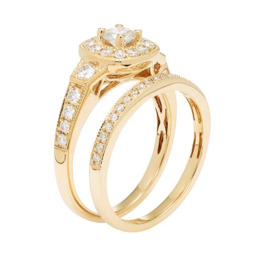 14k Gold 1 Carat T.W. IGL Certified Diamond Cushion Halo Engagement Ring Set